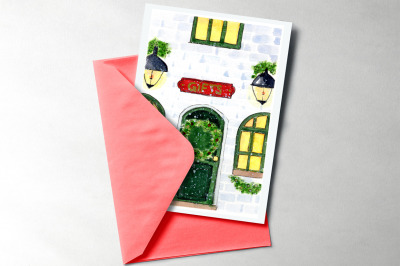 Christmas card. Watercolor illustration with christmas gifts shop