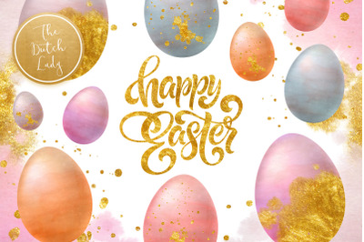 Sparkly Easter Eggs Clipart Set