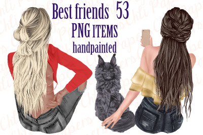 Best Friends Clipart,Girls and Cats, Fashion Girls clipart
