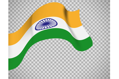Indian flag on transparent background