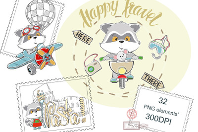 A raccoon travels. Digital clipart. Travel, to Paris, Rome, Pisa, Lond