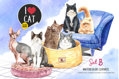 Cat Lover Watercolor Cliparts, Animals watercolor Set B