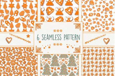 Gingerbread seamless patterns