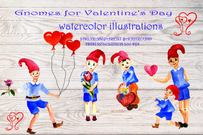 Clipart gnomes for Valentine's Day