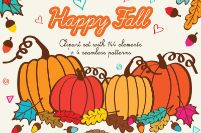 Happy Fall Clipart Hand Drawn Autumn Illustrations Thanksgiving Clip Art