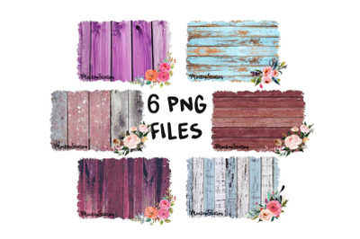 Sublimation Wood Background PNG Bundle, Frame Clip Art