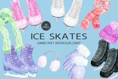 Watercolour Ice Skates Clipart