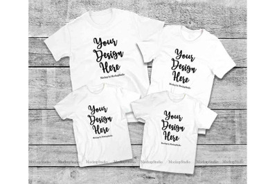 Matching Family White T-Shirts Mockup, 4 Parents Kids Shirts