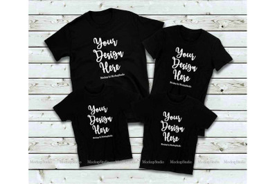 Matching Family Black T-Shirts Mockup, 4 Parents Kids Shirts