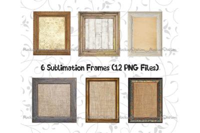 Sublimation Wood Frame PNG Bundle, Picture Photo Planner PNG