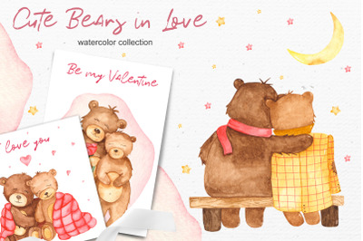 Cute bears in love Watercolor collection clipart