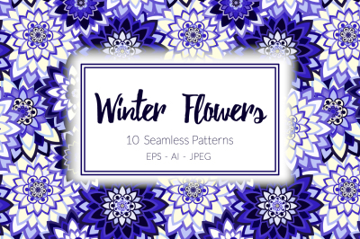 Winter Flowers  Seamless Patterns Collection