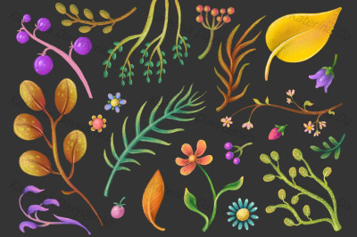 Set of pastel plant elements, flowers, leaves, floral clipart