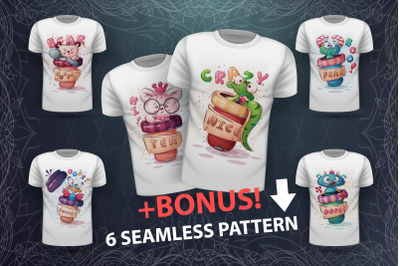 Animals in a cup - for print t-shirt