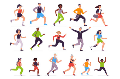 People run. Running person, fast girl and sprinting boy. Jogging kids,