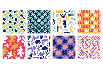 Seamless abstract color shapes patterns. Modern art geometric stamp sh