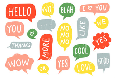 Textured speech bubble signs. Thanks sign, yes and no doodle. Hand dra
