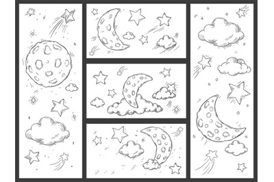 Sketch night sky with moon. Hand drawn moon, night stars and doodle dr