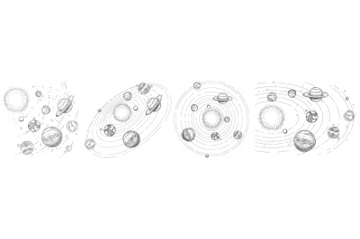Sketch solar system. Hand drawn planets orbits, planetary and earth or