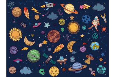 Color space doodle. Astrology planets, colorful space and hand drawn r