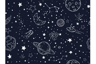 Seamless night sky stars pattern. Sketch moon, space planets and hand