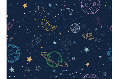 Color seamless space pattern. Hand drawn planets, cosmic galaxy textur