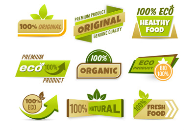 Eco label banner. Healthy food labels, eco bio product and natural org