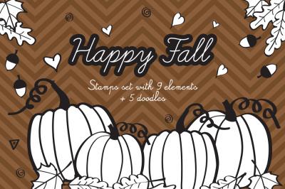 Fall Digital Stamps Thanksgiving Clipart Autumn Digital Scrapbooking Digi Stamp