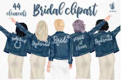 ,Bridesmaid clipart, Bride in Jackets clipart