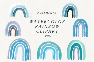 watercolor blue rainbow clipart.