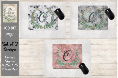 Marble Background with Herbal Frame, Mouse Pad Bundle