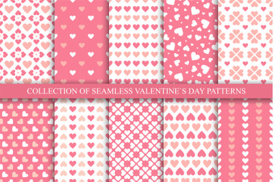 Vector seamless hearts patterns