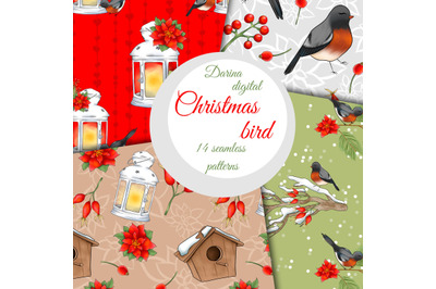 Christmas bird pattern