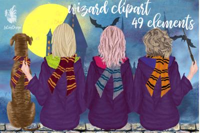 Wizard Girls, Castel Landscape, Dog clipart Wizard friends
