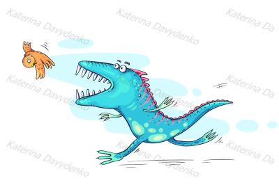Monster or dinosaur catching a bird