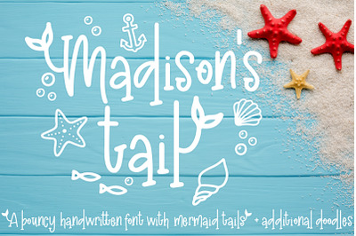 Madison's tail - A mermaid font plus nautical doodles