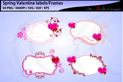 Spring valentine labels and frames / tags