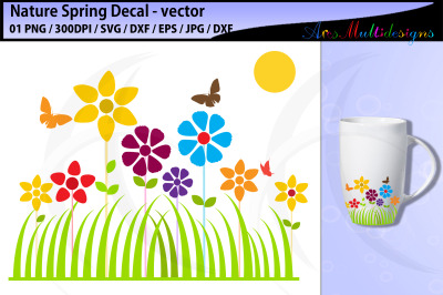 Spring fun decal svg cut file / flower decal