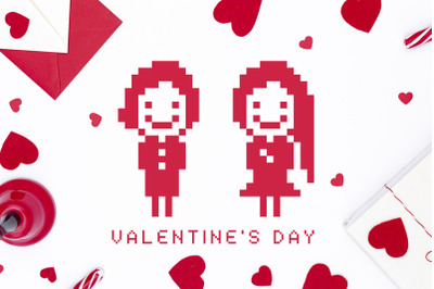 Pixel Font and Valentines Day Pack