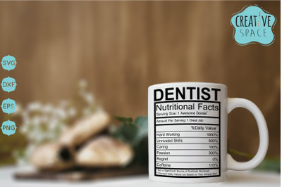 Dentist Nutritional Facts Svg