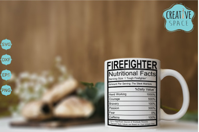 Firefighter Nutritional Facts SVG