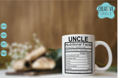 Uncle Nutritional Facts Svg