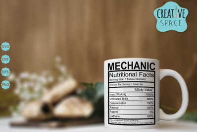 Mechanic Nutritional Facts Svg