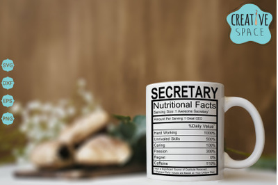 Secretary Nutritional Facts SVG