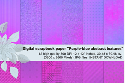 Purple-blue abstract textures, Digital  Paper