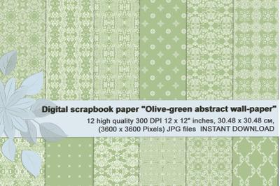 Olive-green abstract digital scrapbook paper.