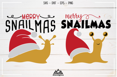 Snail Merry SnailMas Svg Design