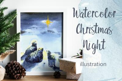 Watercolor Christmas Night Illustration