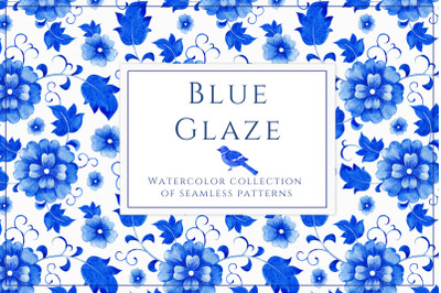 Blue Glaze. Collection of seamless pattern
