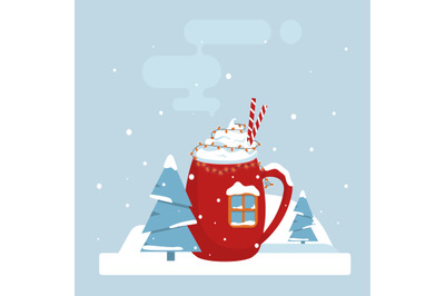 Vector Winter card with elegant red cup with a drink